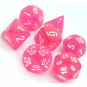 Pink & White Frosted Polyhedral 7 Dice Set